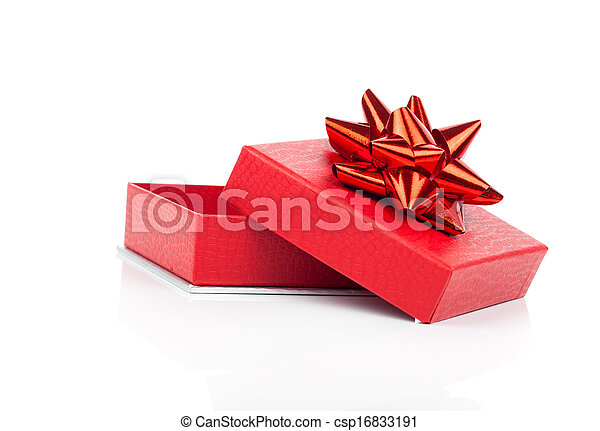 red gift box with bow on white background - csp16833191