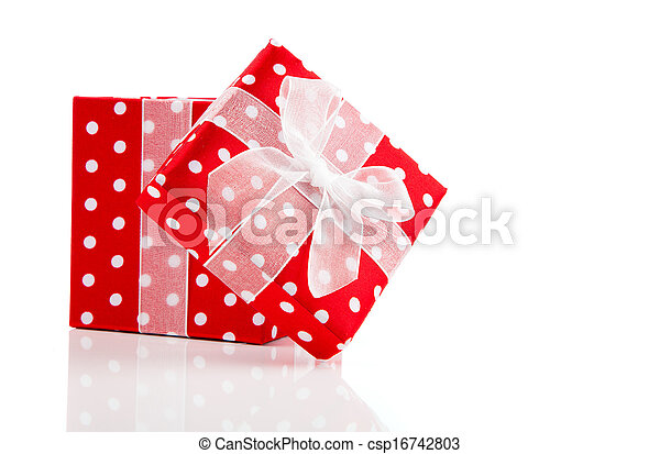 red gift box with bow on white background - csp16742803