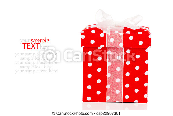 red gift box with bow on white background - csp22967301