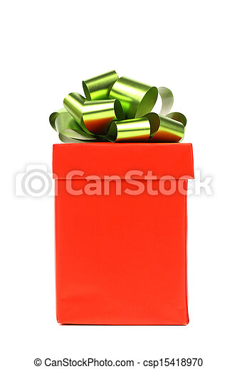 Red gift box with green-golden bow. - csp15418970
