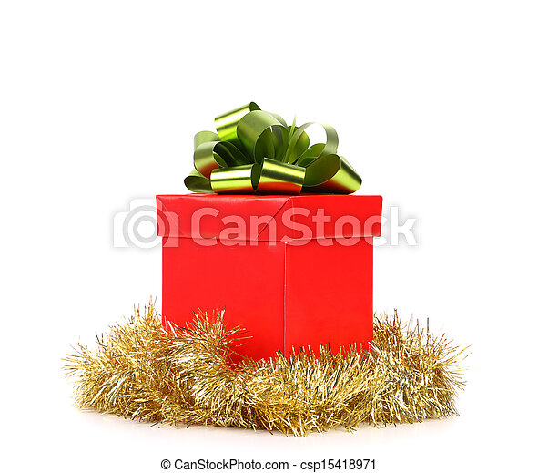 Red gift box with green-golden bow. - csp15418971