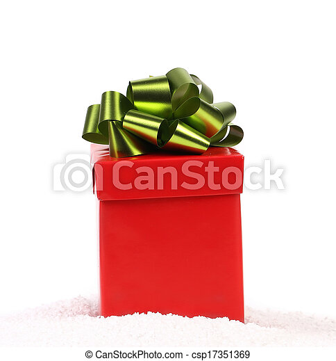 Red gift box with green-golden bow. - csp17351369