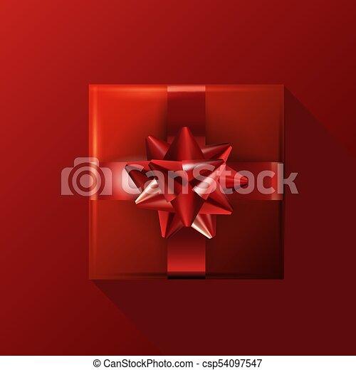 Red Gift With Bow On Red Background Birthday Template Eps10