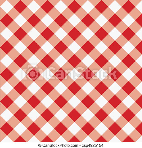 Red Gingham Fabric Texture - csp4925154