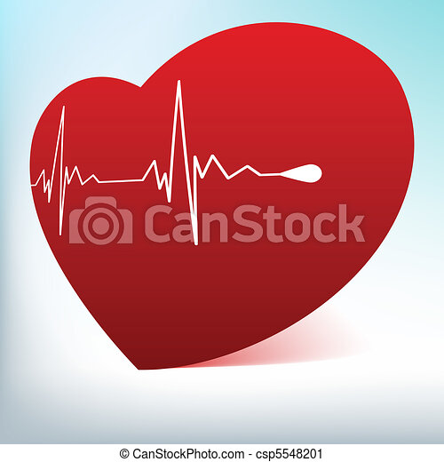 Red glass heart with normal cardiogram. EPS 8 - csp5548201