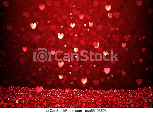 Red Glittering Hearts Background - csp65193603