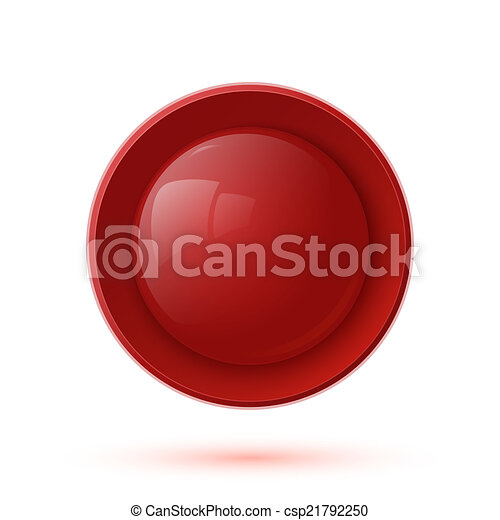 Red glossy button icon isolated on white background - csp21792250