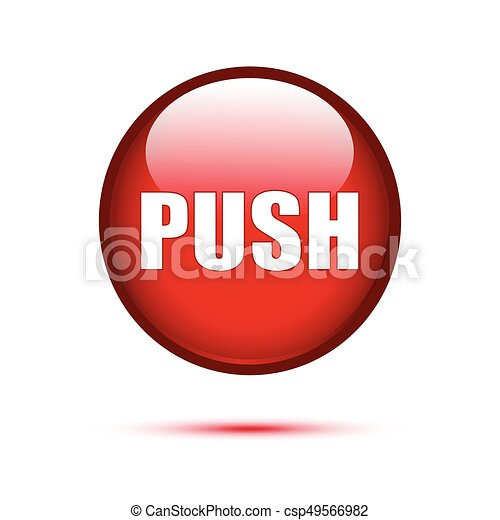 Red Glossy push button on white - csp49566982