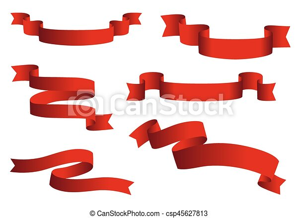 red glossy ribbon vector banners set ribbons collection vector rh canstockphoto com vector banner ribbon images vector ribbon banner illustrator