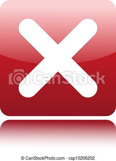 Red glossy web 2.0 button with delete sign - csp10206202