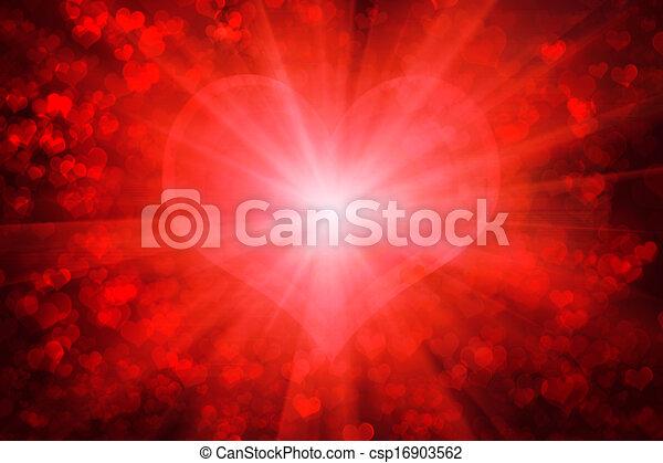 Red glowing Valentine's day background - csp16903562