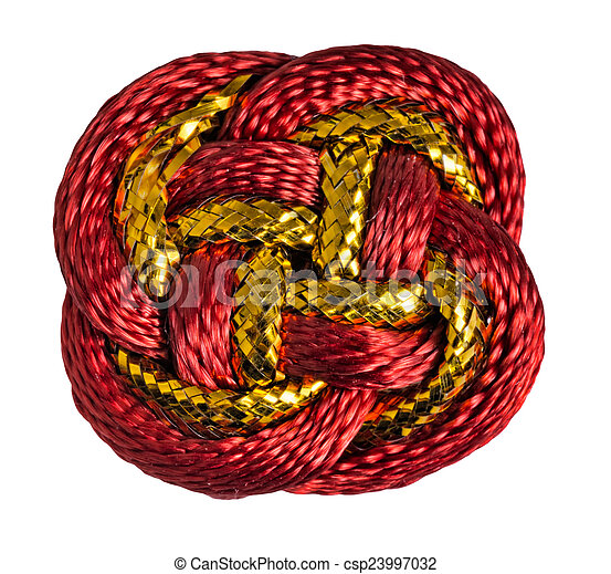 Red, gold Chinese lucky knot macro isolated on white background. - csp23997032