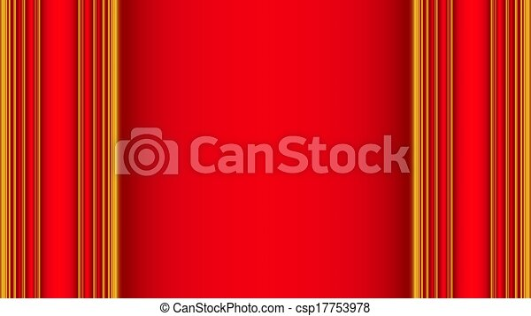 Red Gold Curtains Background Stock Illustration