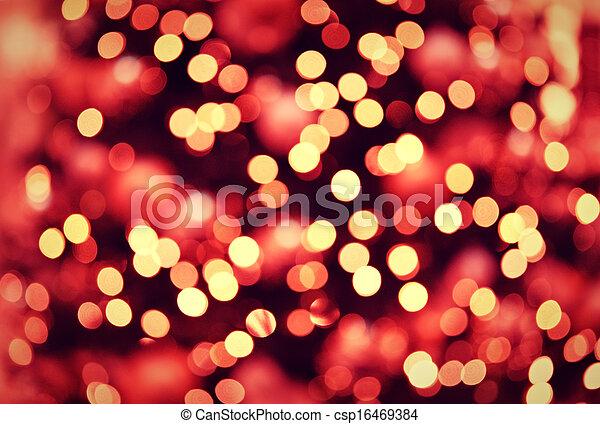 Christmas Lights Background.Red Golden Christmas Lights Background With Bokeh