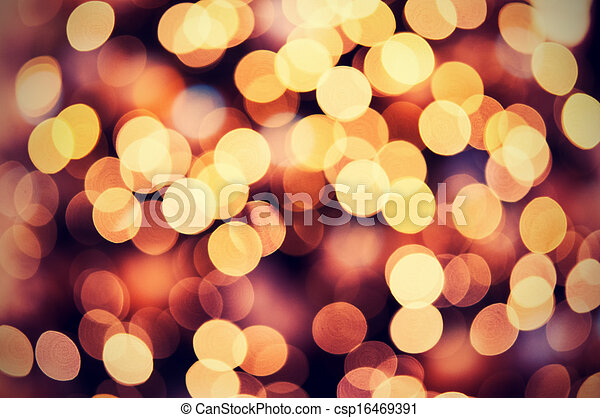 red golden christmas lights background with bokeh csp16469391