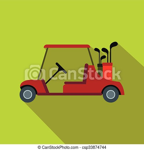 Red golf car flat icon Red Golf Cart Art on red shopping cart, red push cart, red golf card,