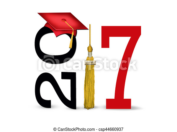 red graduation cap for 2017 red graduation cap and gold drawings rh canstockphoto com Congratulations 2017 graduation clip art 2017 navy blue