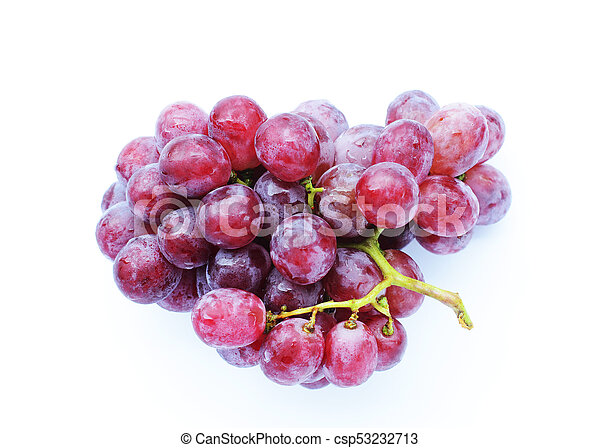 Red grape fruits Isolated on white backgrounds above - csp53232713