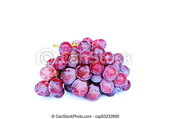 Red grape fruits Isolated on white backgrounds - csp53232690