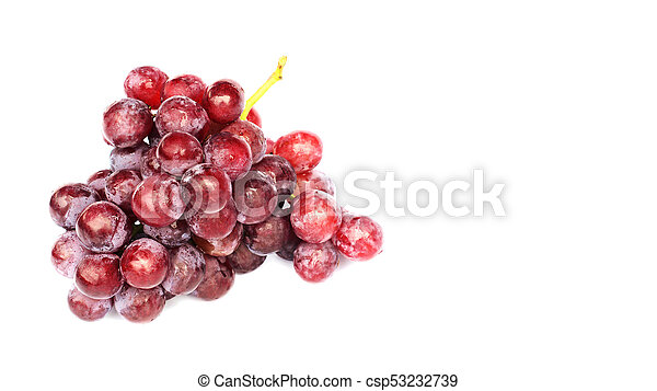 Red grape fruits Isolated on white backgrounds with copy space for your text - csp53232739