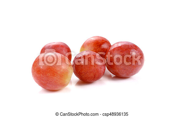 Red grape isolated on white - csp48936135
