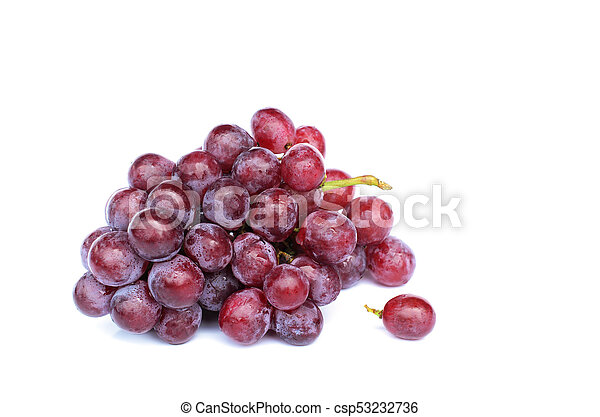 Red grape with macro close up on white backgrounds - csp53232736
