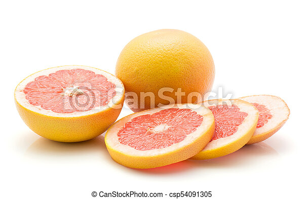 Red Grapefruit Isolated On White