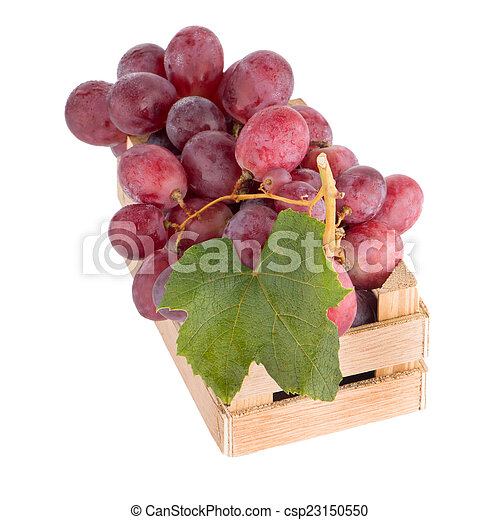 Red grapes in wooden crate - csp23150550