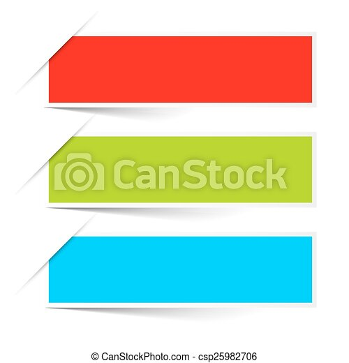 Red Green Blue Empty Paper Vector Labels Set Isolated on White Background - csp25982706
