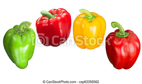 Red green yellow bell peppers, paths - csp63356562