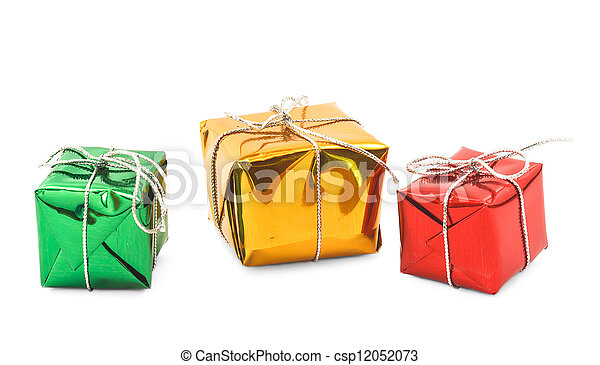 red green yellow christmas gift boxes isolated - csp12052073