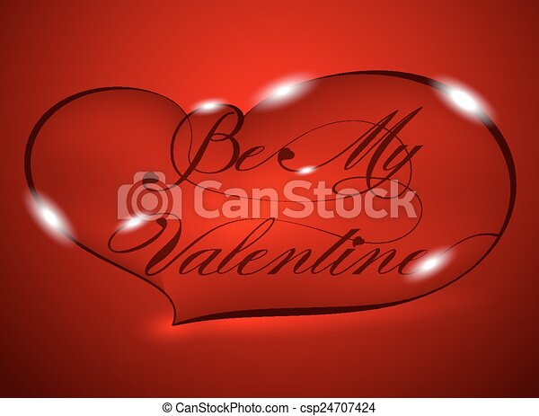 Red Greeting Card - Be My Valentine - csp24707424