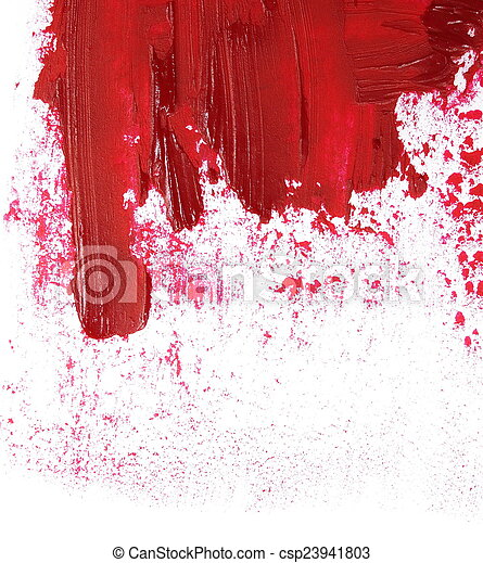 red grunge brush strokes oil paint  - csp23941803