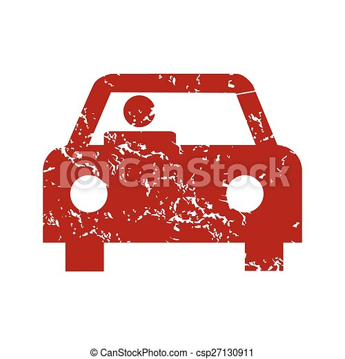 Red grunge car logo - csp27130911