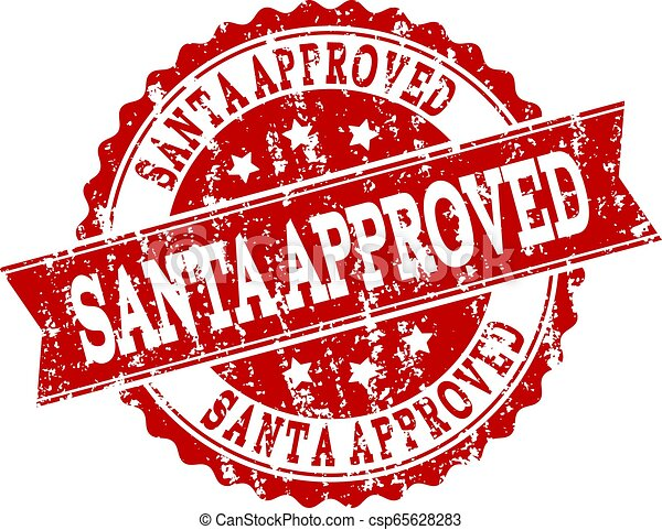 Red Grunge SANTA APPROVED Stamp Seal Watermark - csp65628283