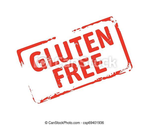 Red grunge stamp and text Gluten Free. - csp69401936