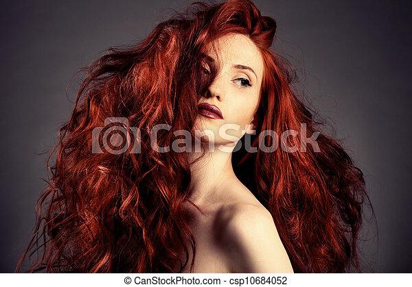 Red Hair. Fashion Girl Portrait  - csp10684052