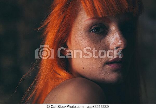 Red hair girl portrait - csp38218889