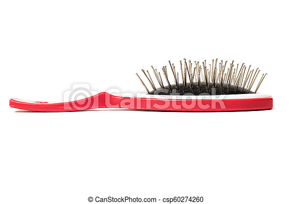 Red hairbrush on a white background, isolated - csp60274260