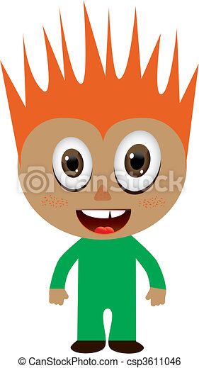 Red-haired boy in green costume, vector illustration - csp3611046