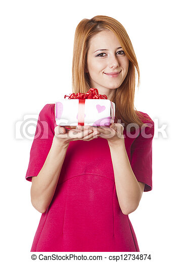 Red-haired girl in dress with present box at white background. - csp12734874