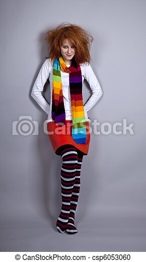 Red-haired girl in scarf. - csp6053060