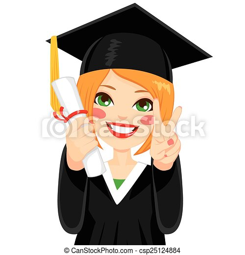 Red Haired Graduation Girl Beautiful Red Haired Girl On