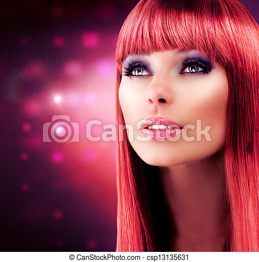 Red Haired Model Portrait. Beautiful Girl with Long Healthy Hair  - csp13135631