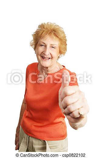 Red Haired Senior Thumbsup - csp0822102