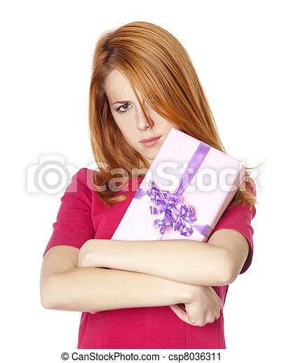 Red-haired woman in dress with present box - csp8036311
