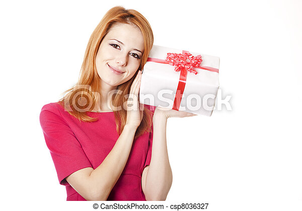 Red-haired woman in dress with present box - csp8036327