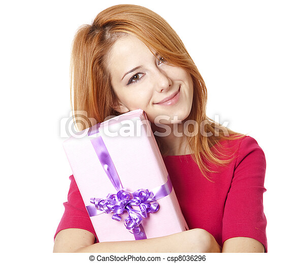 Red-haired woman in dress with present box - csp8036296