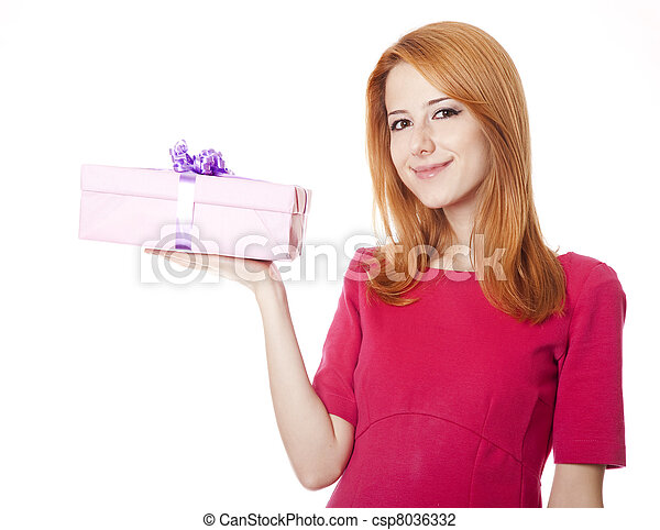 Red-haired woman in dress with present box - csp8036332