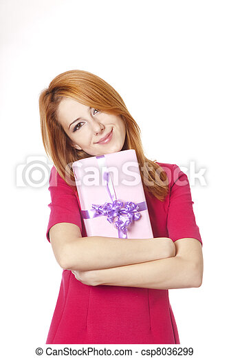 Red-haired woman in dress with present box - csp8036299